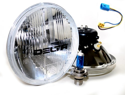 """Dot Euro"" 7"" H4 Hi/Lo Beam 60/55W Headlights, W/High Output Led Drl Lights"