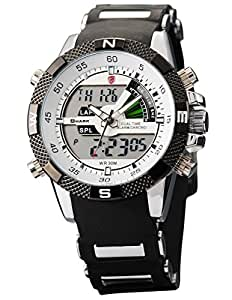 SHARK Mens Dual Time LCD Display Alarm Chronograph Sport Wrist Watch White Dial SH041