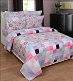 BeautifulHOMES Glory Cotton Double Bedsheet With 2 Pillow Cover - Pink and Silver