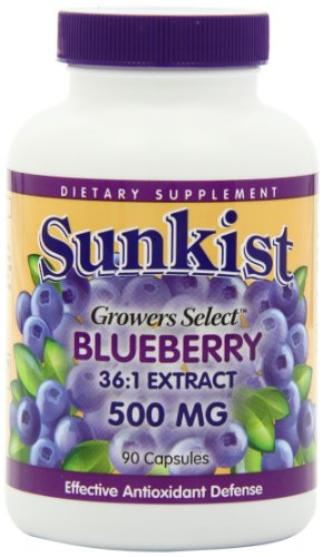 Sunkist Grower Select Blueberry Capsules, 500 mg, 90-Count Bottles (Pack of 2)