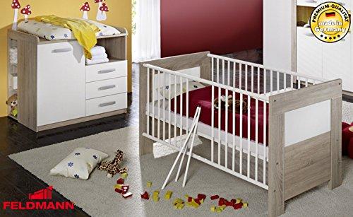 Set 251520 Babyzimmer 2-teilig Kinderbett + Wickelkommode eiche sägerau / weiß