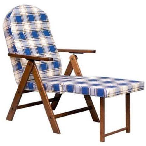 Poltrona sedia sdraio in legno con cuscino relax imbottito for Poltrone relax in legno