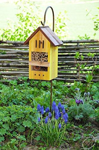 insektenhotel mit metallstiel sch ferstab 1 25 m h he robust bd mms hell gelb insekten. Black Bedroom Furniture Sets. Home Design Ideas