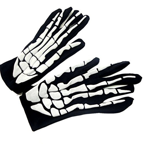 Halloween Skeleton Gloves And Wrist Bone Mittens Props Festival Party Costume