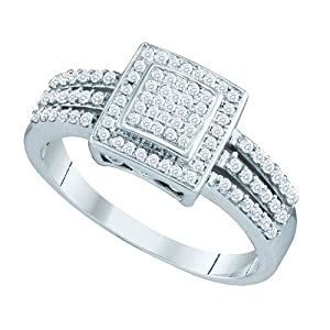 10K White Gold Round Cut Diamond Pave Engagement Ring .35 Cttw