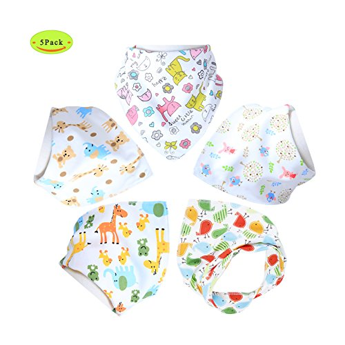 Honeyhome Baby Bandana Drool Bibs,5- Pack Set 3 Nickel Free Adjustable Snaps - Soft Absorbent Hypoallergenic 100% Cotton Feeder Bib- Burp Cloths Gifts for Drooling,Feeding and Teething-Girls Gifts (Bibs Pack compare prices)