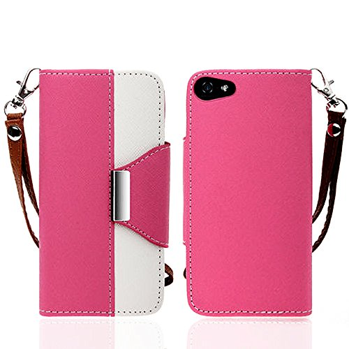 Mylife Cotton Candy Pink And White {Classic Design} Faux Leather (Card, Cash And Id Holder + Magnetic Closing + Hand Strap) Slim Wallet For The Iphone 5C Smartphone By Apple (External Textured Synthetic Leather With Magnetic Clip + Internal Secure Snap In front-342214
