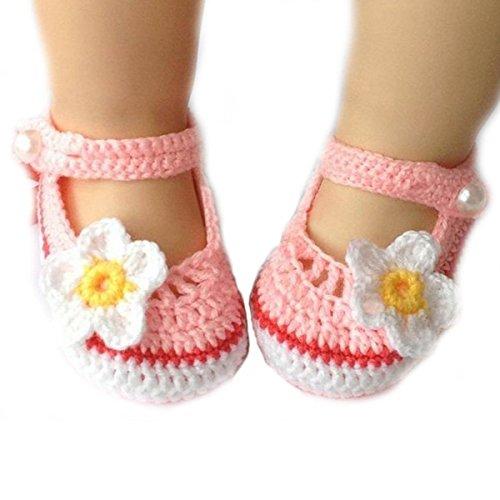 Museya Cartoon fiore stile scarpine neonato all'uncinetto lavorata a mano il lettino scarpe