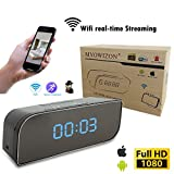 MVOWIZON Alarm Clock with Camera M1 WIFI Control Full HD 1080P Spy Camera Motion Detection Alarm Wireless IP Security Camera Nanny Cam Black