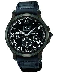 Seiko Premier Kinetic Perpetual Black Leather Mens Watch SNP045