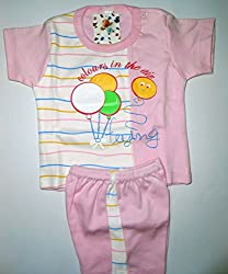 Bubbles Printed Dress For New Born (0-3 Months) (Pink)