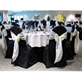 Black Banquet Chair Covers (Set of 10). Chair Sash Not Included. Great for Weddings and Events. Make Your Next Party or Banq