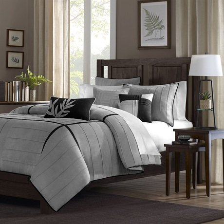 Madison Park Connell 6 Piece Duvet Cover Set - Grey - Full/Queen front-159238