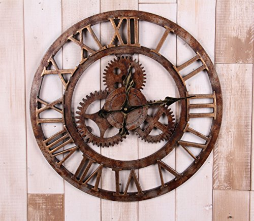 "20"" Handmade Oversized 3d Retro Rustic Decorative Luxury Art Big Gear Wooden Vintage Large Wall Clock on the Wall for Gift XT5016 (Roman numerals Rusted iron)"