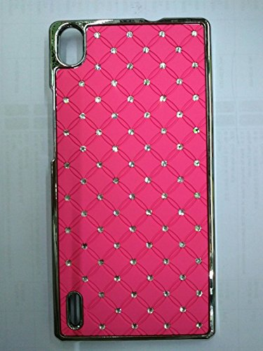 Maclogy 2014 Latest Fashion Design Luxury Dazzling Rhinestones Shiny Crystal Diamond Plating Protective Shell Trapped Difficult Cases Huawei P7 And Fashion Chain Crystal Ornaments Color Uv Radiation Gifts (Pink)
