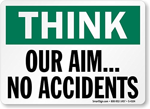 Think: Our Aim, No Accidents, HDPE Plastic Sign, 10