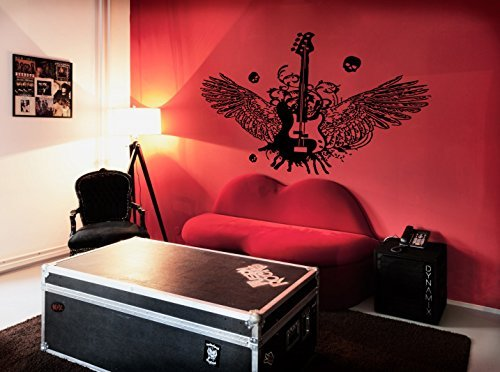 Ik222 Wall Decal Sticker Decor Bass Guitar Rock Indie Rock Music Heavy Alternative Wings Skull Interior Living Bed by StickersForLife