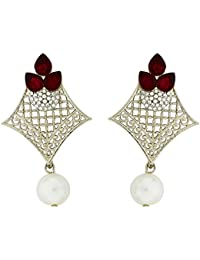 The Jewelbox Pear Flower Filigree Antique Rhodium Pearl Red Earring For Women