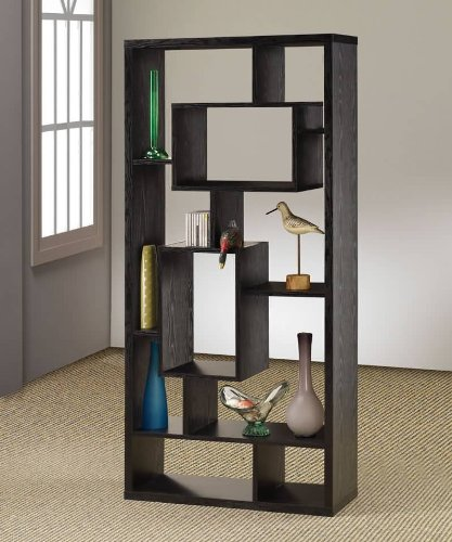 Discover Bargain Room Divider Shelf In Black Oak Finish by Coaster Furniture