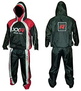 XXR Hooded Heavy Duty Sweat Suit Sauna Exercise Gym Suit Fitness Weight Loss Anti-Rip Hoodie Hoody S-XXL (Medium)
