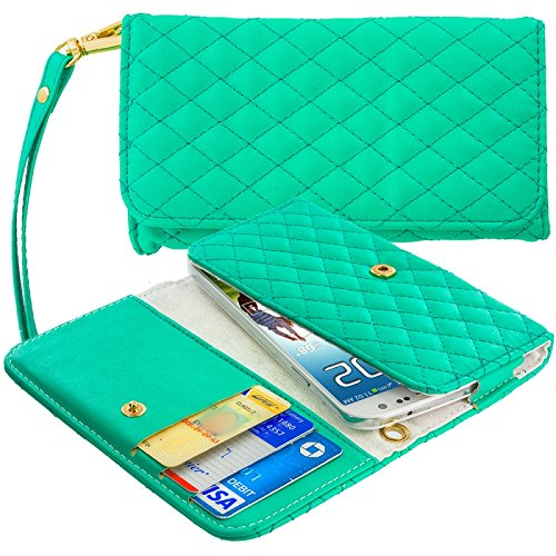 Cell Accessories For Less (Tm) Mint Green Luxury Leather Wallet Pouch Case Cover With Slots - By Thetargetbuys front-994661