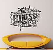 Fitness Wall Vinyl Decal Gym Athletic Sport Sticker Art Wall Removable Home Decor (5f1t)