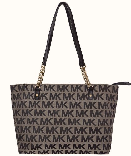 Michael Kors MK Signature Jet Set EW Chain Tote Bag Handbag Purse - Black