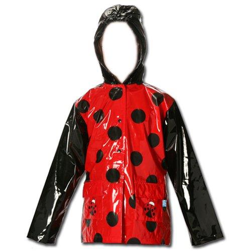 Little Girl's Red Ladybug Rain Coat Size X-Small - 4/5