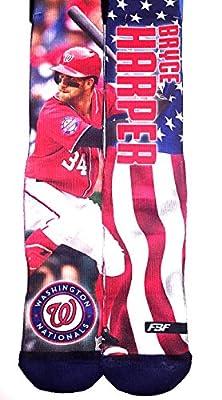 Bryce Harper - Washington Nationals - MLB Mega Flag 2 Sublimation Crew Socks Size Medium 5-10