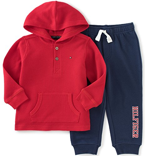 Tommy Hilfiger Baby Boys' Thermal Hooded Top with Fleece Pant, Red, 3-6 Months
