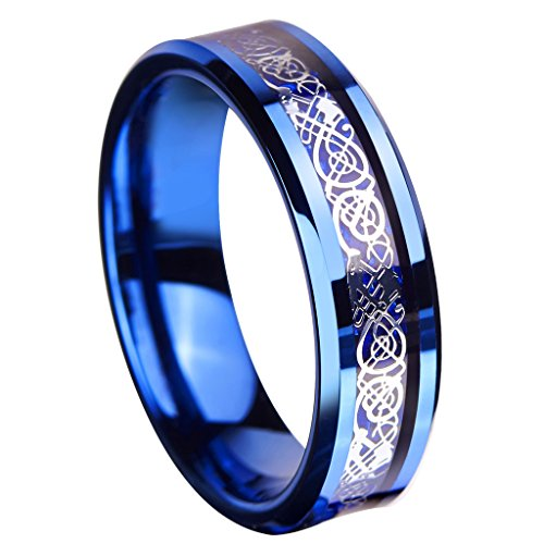 queenwish 6 mm blu anello in carburo di tungsteno anello Celtico Drago Blu Fibra di carbonio Inlay Mens Wedding Band Jewelry, tungsteno, 19, cod. QWTURA-6108090