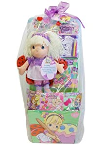 "HUGE PRECIOUS MOMENTS GIFT BASKET 28"" H CANDY DOLL COLORING BOOK TOYS"