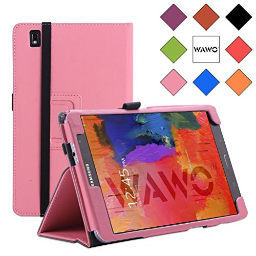 Wawo Creative Smart Cover Folio Case For Samsung Galaxy Tab Pro 8.4 Inch Tablet-Rose Red front-1057788