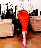 3色 原色 カラフル ハイウエスト タイト 膝丈 ペンシル スカート