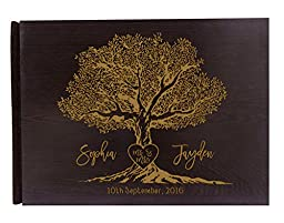 Handmade Tree Design Personalized Guest Book Rustic Wedding Wood Wooden Engraved Advice Book - 50 Page