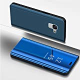 Galaxy A8 2018 Case,PHEZEN Luxury Mirror Makeup Case Plating PU Leather Flip Folio Wallet Case [Kickstand Feature] Magnetic Closure Full Cover Case for Samsung Galaxy A8 2018 (Blue)