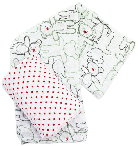 Plum Collections Pattern Cotton Muslin Squares Swaddle Wraps Teddy Bear Design (Pack of 2, X-Large)