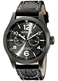 Invicta Men's 10492 Specialty Military Charcoal Dial Black Leather Watch