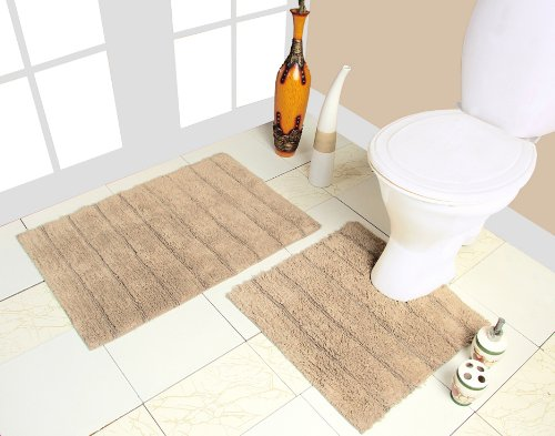 Ophelia Luxury 2-Piece 100% Cotton Bath Mat Set, Biscuit Cream