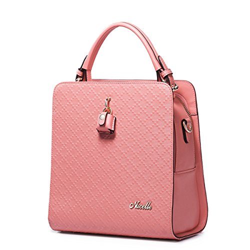 Fashion Latest Style Nucelle Embossed Real Leather Top Handle Shoulder Handbags (Pink)