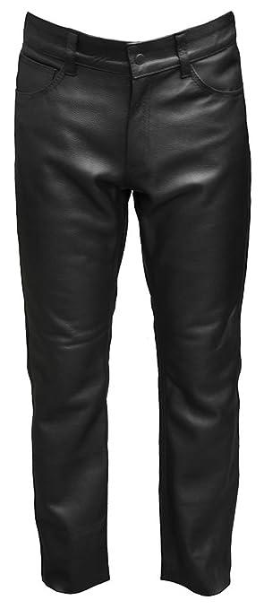 Mens cuir classique 5 poches Pantalon moto Jean - 29 cm-Entrejambe: