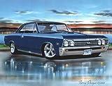 1967 Chevelle SS Hardtop Muscle Car Art Print Blue 11x14