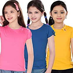 Sini Mini Girls Cotton 3 Pcs Combo Mpink, Royal blue, Golden yellow