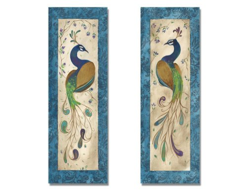 2 Blue Retro Peacock Pair Art Prints Green Purple Feathers Décor 6x18