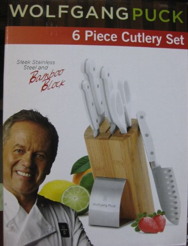 Wolfgang Puck Cutlery Set - 6 Pcs Stainless Steel with White Handles and Bamboo Block (Wolfgang Puck Knife compare prices)