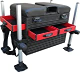 MDI Matchman 3 Drawer (2 Front + 1 Side) Fishing Seat Box - Black+Red