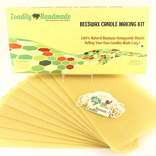 Make Your Own Beeswax Candle Kit - Includes 10 Full Size 100% Beeswax Honeycomb Sheets in NATURAL and Approx. 6 Yards (18 Feet) of Cotton Wick. Each Beeswax Sheet Measures Approx. 8