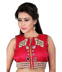 Pushkar Sarees Women's Silk Blouse (Pushkar Sarees_97_Pink_Free Size)