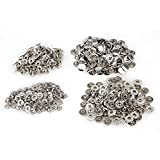 Silver 15mm Dia Heavy Duty Metal Snap Fasteners Press Stud Rivet Leathercraft Clothing DIY Tools Pack of 100