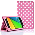 SUPCASE New Google Nexus 7 FHD 2nd Generation Tablet Slim Fit Folio Leather Case - Spotty Pink (Free Stylus